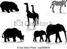 silueta de animais africanos - Pesquisa Google
