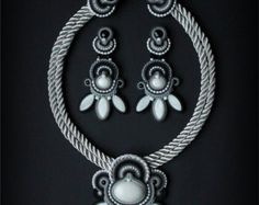 Handmade soutache necklace pendant by Mildossutazas on Etsy