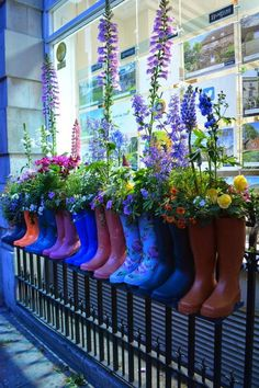 Spring, raindrops display idea, even one set would be cute. Cowboy boots too.