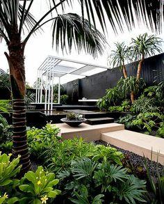 Wasserwand Garten Originelle Gestaltung Ideen Quellsteine Pflanzen ... Garten Pavillon Tropische Pflanzen