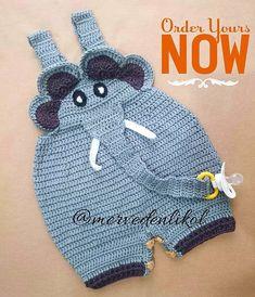 Crochet elephant romper for babies by  Merve Denlikol @mervedenlikol Instagram photos | Websta