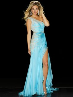 In aqua, white, or black the Mac Duggal pageant dress 50069P is ideal for a national level teen pageant with its one shoulder neckline with single rhinestone covered cap sleeve, rushed bodice with fitted waistline that displays hand sewn Swarovski crystals along one side and a spray on the other. The silk skirt covers a split that can be tacked down for a teen pageant competition.