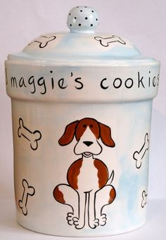 hand painted personalized ceramic dog treat jar by suzaluna, $105.00