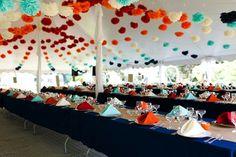 Schöne Dekoideen für extravagante Hochzeitsdekoration - extravagante Hochzeitsdekoration girlanden papierdeko wedding table decoration