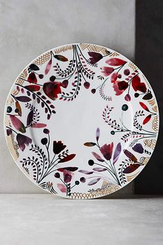 Harvest Foliage Dinner Plate - anthropologie.com I like one printed dish mixed in with the simple white on a nice table.
