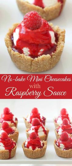 No-bake mini cheesecakes with raspberry sauce are the perfect desserts for a beautiful end to any meal. A great spring or summer dessert! via With a few substitutes for keto Mini Desserts, Desserts To Make, No Bake Desserts, Delicious Desserts, Dessert Recipes, Yummy Food, Raspberry Desserts, Baking Desserts, Cookies