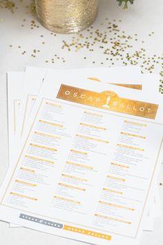 2014 Oscar Ballot Printable & Inspiration - Sugar and Charm