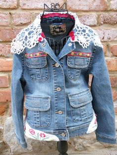 Childrens Gap jean jacketembellished with vintage by Fotoula, $45.00
