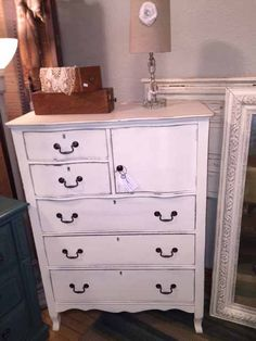 Vintage chest of drawers painted in Old White Chalk Paint®