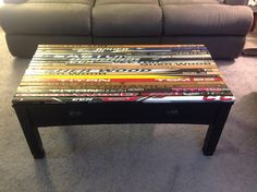 Diphead Mike restored a coffee table with broken hockey sticks. Then he topped it all off with a coat of Plasti Dip. Goooaaaal!
