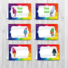Dreamworks Trolls Printable Food Labels Party