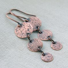 metalwork earrings / etched copper jewelry / long dangle by Verha, $25.00