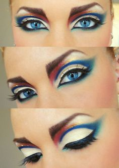 Sharp contrast of reds and blues create a striking look on the ballroom floor. Visit http://ballroomguide.com/comp/hair_make_up.html for more hair and makeup info