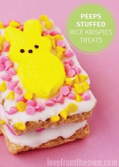 Why choose between your two favorite Easter treats when you can layer them into one treat? Peeps Stuffed Rice Krispies Treats are loaded with yummy white chocolate and are easy to make with your kids for a springtime dessert.