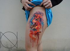 fox watercolor tattoo for girl - 55 Lovely Tattoos for Girls | Art and Design
