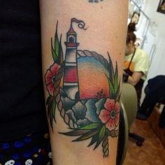 Lighthouse + Ship Old School Tattoo (by Henrique Costa - Dagger's Tattoo - Rua 7 de Abril, 154 - Galeria Nova Barão Loja 39 - SP/BRA - Tel.: 3159-0172).