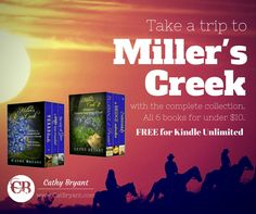 Need a stay-cation? Take a trip to Miller's Creek & read all 6 books for under $10 (Free for KU). Collection 1: https://www.amazon.com/MILLERS-CREEK-COLLECTION-Christian-Contemporary-ebook/dp/B00OYZ3K7C/ref=sr_1_1?ie=UTF8&qid=1473904973&sr=8-1&keywords=christian+contemporary+romance#nav-subnav Collection 2: https://www.amazon.com/MILLERS-CREEK-COLLECTION-Christian-Contemporary-ebook/dp/B0175PN0DQ/ref=sr_1_2?ie=UTF8&qid=1473904973&sr=8-2&keywords=christian+contemporary+romance#nav-subnav