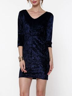 V Neck Velvet Hollow Out Plain Bodycon-dress