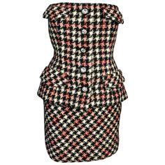 Bill Blass 1980s Houndstooth Strapless Mini Dress with Peplum   From a collection of rare vintage day dresses at https://www.1stdibs.com/fashion/clothing/day-dresses/