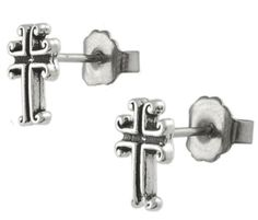 9mm Sterling Silver Vintage Antique HOLY CROSS Black Oxidized Stud Earrings. METAL: Italian .925 Sterling Silver. STYLE: Vintage Antique HOLY CROSS Black Oxidized Stud Earrings. HEIGHT: 9mm / WIDTH: 6mm. For Pierced Ears Only. Clasp: Pushback.