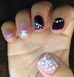 Organic Gel Manicure with 3D Hello Kitty, Polka Dot and Crystal Bow designs.