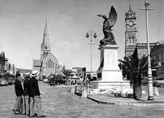 Grahamstown: Cathedral, War Memorial and City Hall (1955) by HiltonT, via Flickr