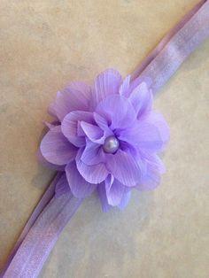 Purple Baby Headband, Light Purple Soft Chiffon Flower on Light Purple Headband Copy on Etsy, $5.00