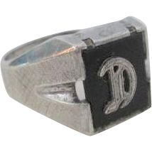 Art Deco Sterling Silver SS Ring Vintage 1940s Onyx Letter D Mens Jewelry  $90