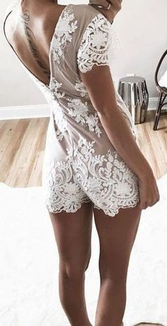 #summer #outfits / lace playsuit