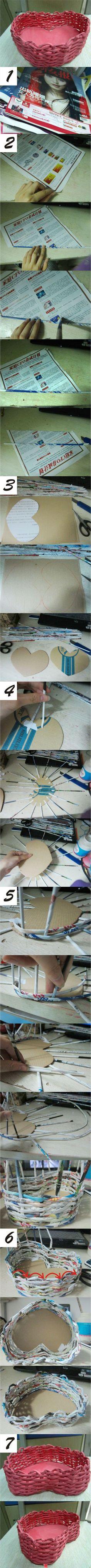 donneinpink - risparmio e fai da te: Come fare una cesta a forma di cuore con carta riciclata