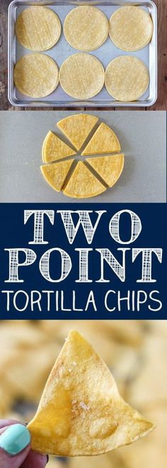 Two Point Weight Watcher Tortilla Chips - Easy Baked Tortillas Chips. 12 chips equal one serving. Weight Watchers Snacks, Weight Watcher Dinners, Plats Weight Watchers, Weight Watchers Smart Points, Weight Watchers Free, Weight Loss, Weight Watchers Guacamole Recipe, Air Fryer Recipes Weight Watchers, Snacks