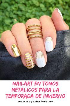 Gold Nail Art, Gold Nails, White Nails, Accent Nails, Pretty Nails, Beauty Hacks, Hair Makeup, Nail Designs, Hair Cuts