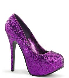 "Teeze pump in purple glitter pump has a 5 3/4"" heel with 2"" concealed platform. Bordello Shoes offers a large selection of sleek to shiny patents, satin, sparkly glitters, sequins, fringe and rhinesto"