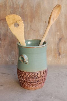 Stoneware Jar, pottery keramic kitchen housewares storage home decor decorative utensil holder in Sage Green and Brown $50