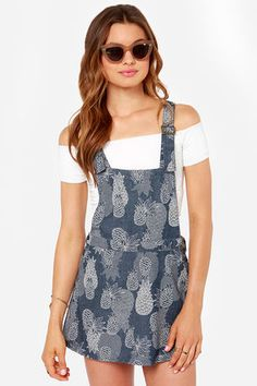 Obey Denton Blue Pineapple Print Overall Dress at LuLus.com!