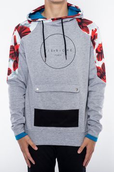 Floral Paneled Hoody Heather Gray from Vie Riche