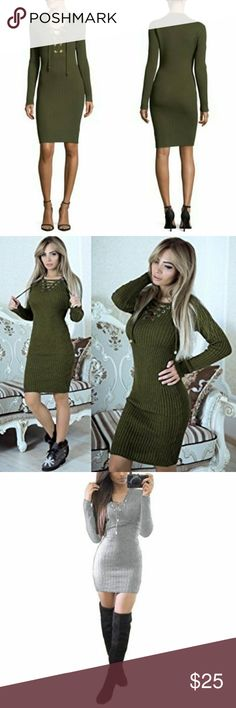 Say what?  Sweater dress New with no tags.  Womens Ladies Eyelet Lace Up V Neck Long Sleeve Ribbed Knit Bodycon Mini Dress. This is the last one left,and the color is  (pine green) as shown in the last picture. Say What? Dresses Long Sleeve