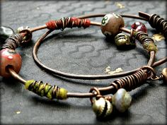 Bohemian tribal gypsy bangle set  hammered copper by quisnam, $40.00