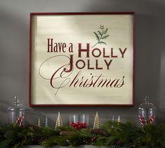 Holly Jolly Sign Wall Art Potterybarn Wide X High X Thick. Made Of Mahogany Wood. Pallet Wood Christmas Tree, Christmas Wall Art, Christmas Love, Christmas Signs, Christmas Projects, Christmas Holidays, Christmas Ideas, Holiday Ideas, Happy Holidays