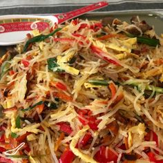 Beef Funchoza Recipe (Фунчоза) - A Central Asian Salad made from Beef, Bean Vermicelli and Vegetables.