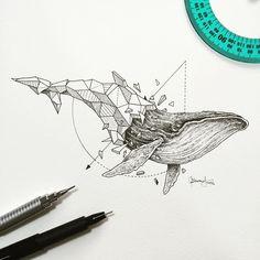 Geometric Beasts | Whale by kerbyrosanes