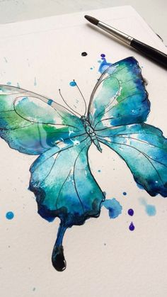 Buy watercolor butterfly 7 - abstract butterfly watercolor p Butterfly Drawing, Butterfly Painting, Butterfly Watercolor, Watercolor Drawing, Watercolor And Ink, Watercolour Tattoos, Watercolor Paintings For Beginners, Art Drawings, Art Projects