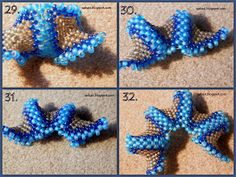 How to make a beaded star - photo tute Beading Techniques, Beading Tutorials, Beading Patterns, Seed Bead Jewelry, Beaded Jewelry, Bead Crafts, Jewelry Crafts, Beaded Starfish, Spiral Crochet