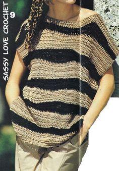 Crochet Beginner Sweater Tunic Top Irregular Stripe Pattern, Women Crochet Top PATTERN - Instant Download by SassyloveCrochet on Etsy