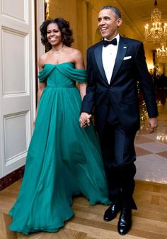 U.S.A First Lady Michelle Obama looks fabulous in Emerald Green Gown by Marchesa for a Washington Gala