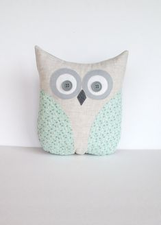 decorative owl pillow, pastel mint green and grey floral pillow, child's room, nursery room pillow decor, READY TO SHIP. $32.00, via Etsy.