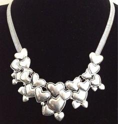 HEARTS Hearts HEARTS BIG Silver STATEMENT BIB COLLAR Necklace A STUNNING CHOKER | eBay