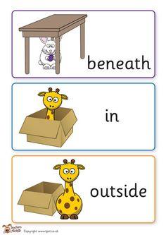 Maths Eyfs, Eyfs Classroom, Primary Classroom, Classroom Displays, Numeracy, Positional Words Kindergarten, Positional Language, Kindergarten Prep, Preschool Learning Activities