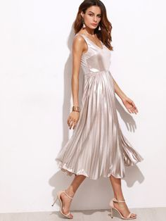 Shop Metallic Pink Double V Neck Pleated Dress online. SheIn offers Metallic Pink Double V Neck Pleated Dress & more to fit your fashionable needs. Sexy Dresses, Casual Day Dresses, Stunning Dresses, Satin Dresses, Silk Dress, Cute Dresses, Gowns, Pink Dresses, Metallic Pink