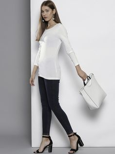 6c43d05c13 DOROTHY PERKINS Women White Solid Longline Round Neck T-shirt -   474